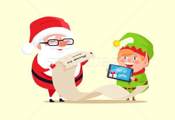 Santa Claus and Elf Checking out Gift List Icon Stock photo © robuart