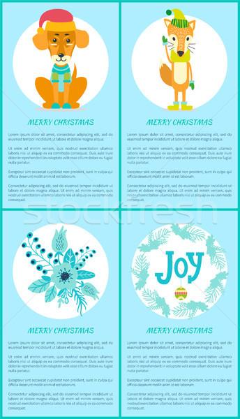 Joyeux Noël carte de vœux chien Fox bouquet Photo stock © robuart