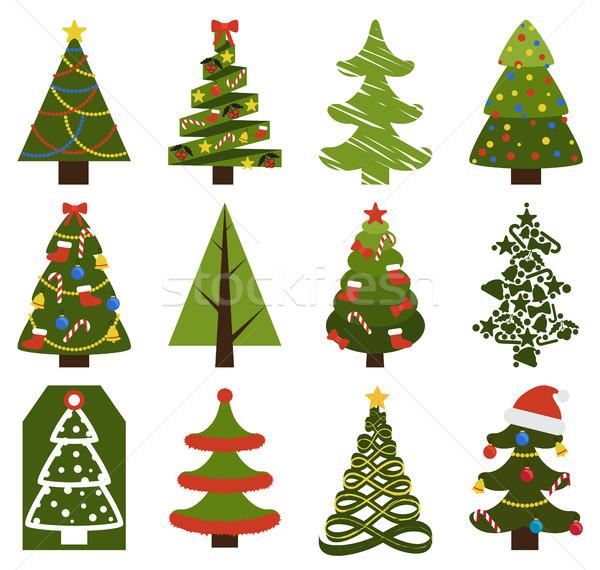 Stockfoto: Groot · ingesteld · kerstboom · symbolen · decoratief