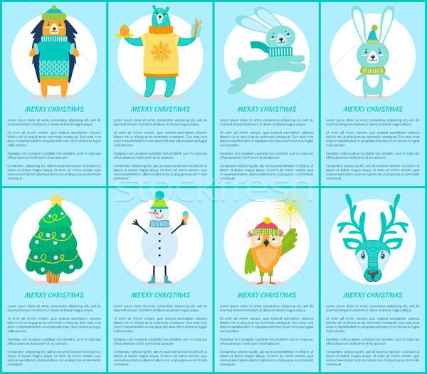 Stok fotoğraf: Neşeli · Noel · ayarlamak · posterler · mutlu · hayvanlar