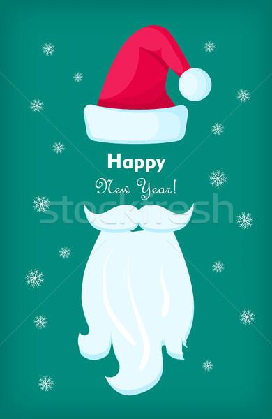 Feliz año nuevo papá noel CAP blanco barba tarjeta de felicitación Foto stock © robuart