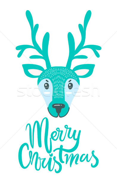 Merry Christmas Greeting Card with Furry Deer Stock photo © robuart