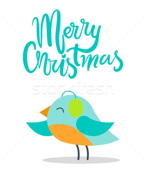 Merry Christmas Bird with Plumage Warm Earpieces Stock photo © robuart