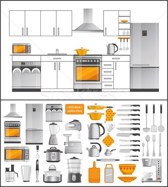 Kuchnia kolekcja urządzenia sprzęt kuchenny nowoczesne elektryczne Zdjęcia stock © robuart