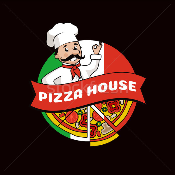 Pizza House Promotional Logo with Cook in Hat Stock photo © robuart