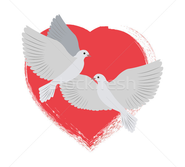 Doves Flying and Red Heart Vector Illustration Stock photo © robuart