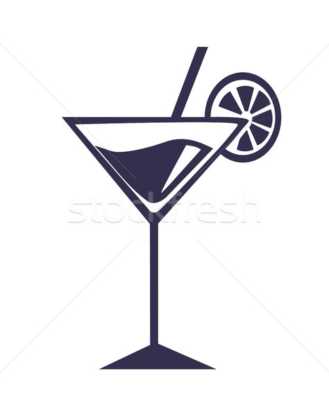 Martini cocktail stro orange slice vector schets Stockfoto © robuart