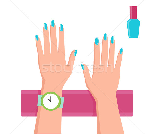 Pretty Blue Manicure Banner Vector Illustration Stock photo © robuart