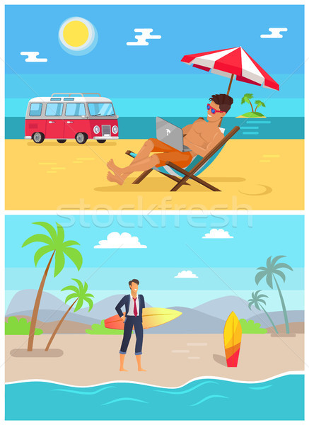 Men with Work as Freelancers on Sandy Beaches Set Stock photo © robuart