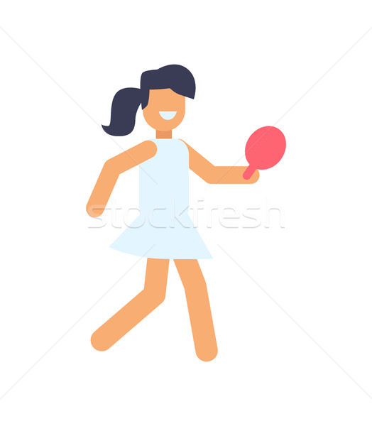 Girl Playing Table Tennis Vector Illustration Stock photo © robuart