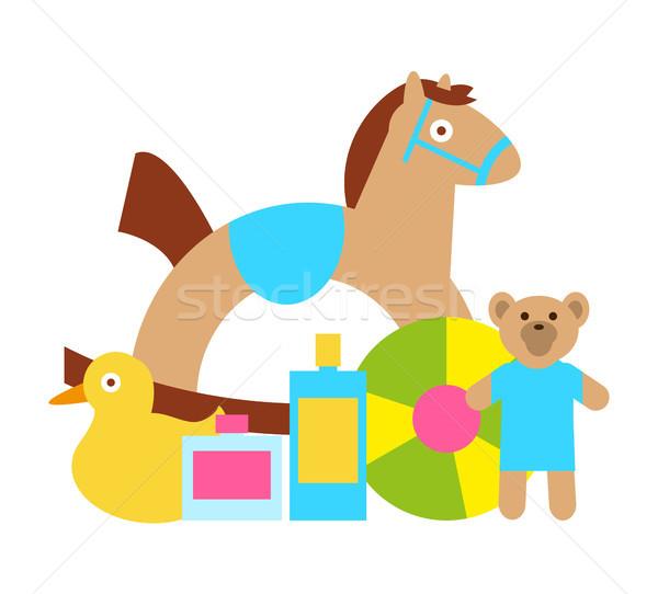 Jouets enfants jouer cheval à bascule Nounours bourré Photo stock © robuart
