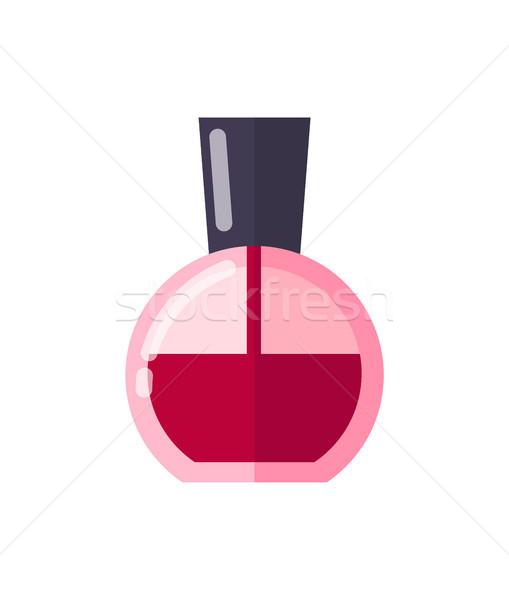 Grande garrafa vermelho unha polonês brilhante alto Foto stock © robuart