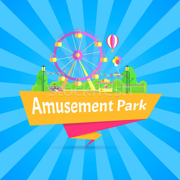 Amusement Park Blue Poster Vector Illustration Stock photo © robuart