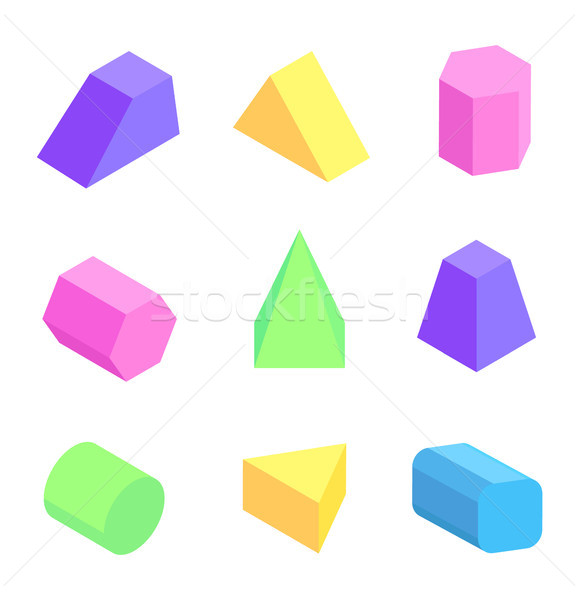 Bright Geometric Figures Set, Vector Illustration Stock photo © robuart