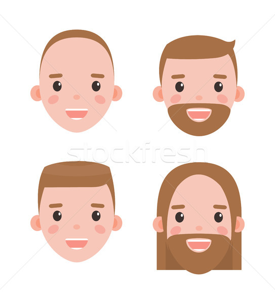 Male Heads Shaved and Bearded with Hairstyles Set Stock photo © robuart
