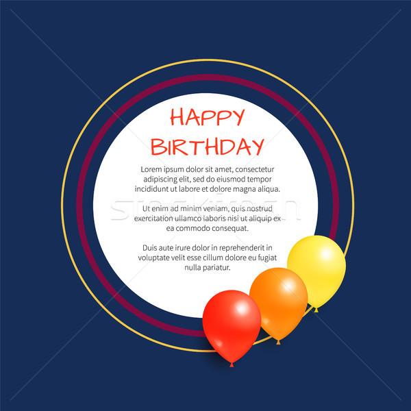 Happy Birthday Greeting Card Round Frame Balloon Stock photo © robuart
