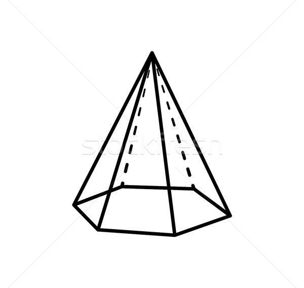 Hexaconal Pyramid Geometric Shape in Black Color Stock photo © robuart
