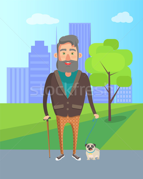 Grandfather Walking with Dog in City Park Vector Stock photo © robuart