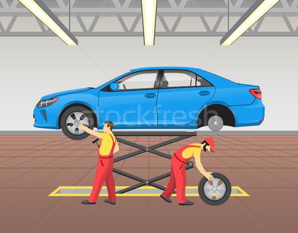 Lifted Car Repairing Process Vector Illustration Stock photo © robuart