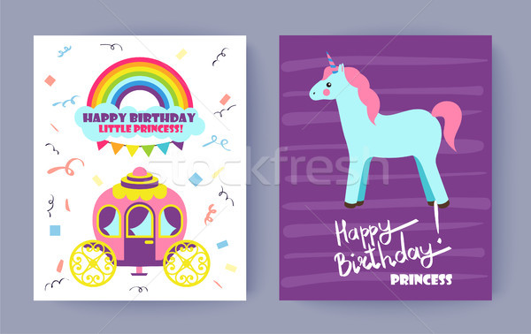 Happy Birthday Little Princess Colorful Poster Stock photo © robuart