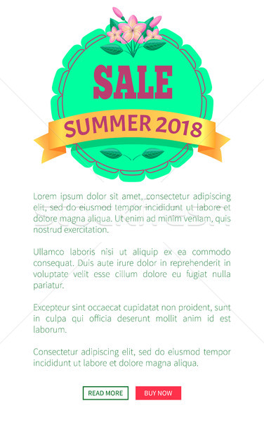 Sale Summer 2018 Round Promo Emblem with Flower Stock photo © robuart