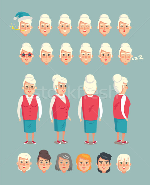 Grandmother Constructor Animated Cartoon Character Stock photo © robuart