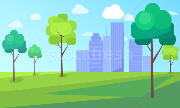 Landscape Scenery of City Park with Green Trees Stock photo © robuart