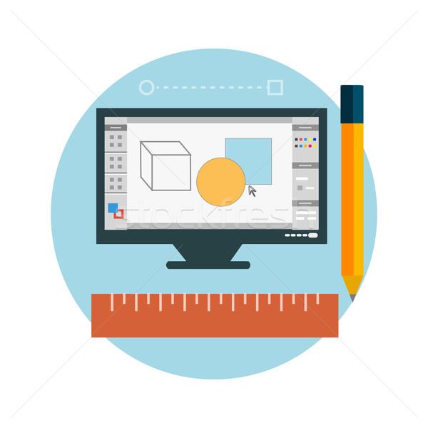 Programma design architettura schermo web design Foto d'archivio © robuart