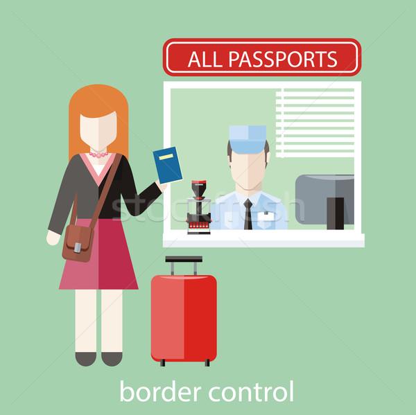 границе контроль дизайна женщину паспорта проверить Сток-фото © robuart