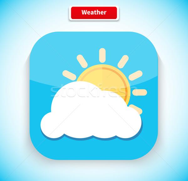 Weer app icon stijl ontwerp prognose Stockfoto © robuart