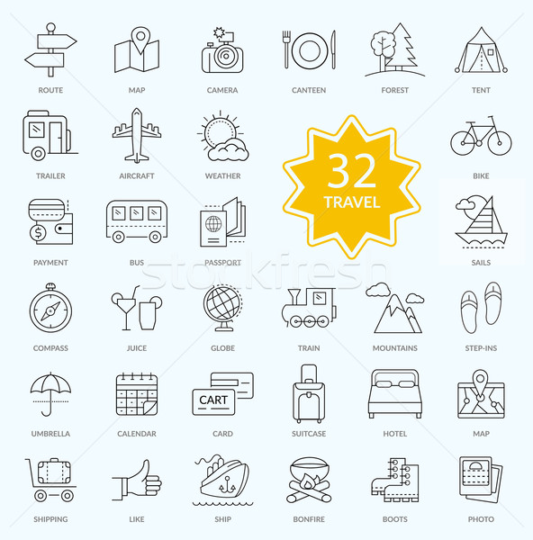 Set of Travel Icon Linear Design Stock photo © robuart