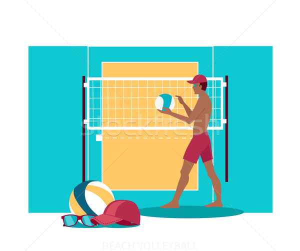 Beach Volleyball Sport Concept Icon Flat Design Stock photo © robuart