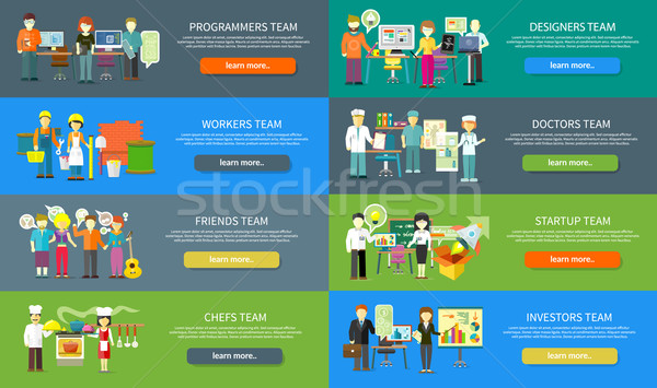 Work Team People Job Concept Flat Design Stock photo © robuart
