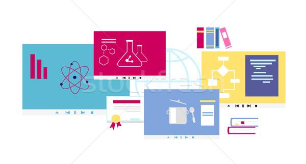 Online ikon terv stílus oktatás egyetem Stock fotó © robuart
