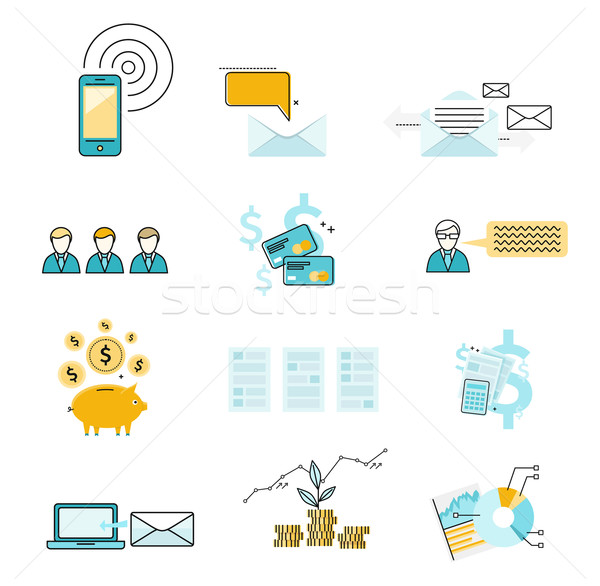 Set icon investment negotiation correspondence Stock photo © robuart