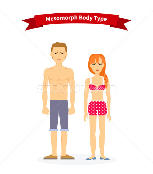 Stock photo: Mesomorph Body Type Woman and Man