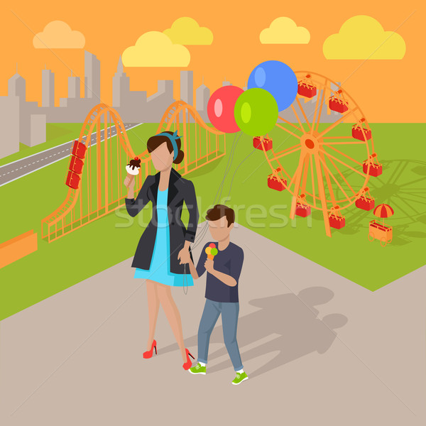 Family Holiday in the Amusement Park Concept Stock photo © robuart