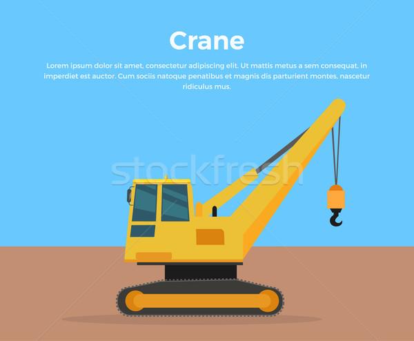 Caterpillar Crane Banner Flat Design Vector Stock photo © robuart