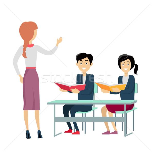 école leçon design vecteur femme enseignants Photo stock © robuart