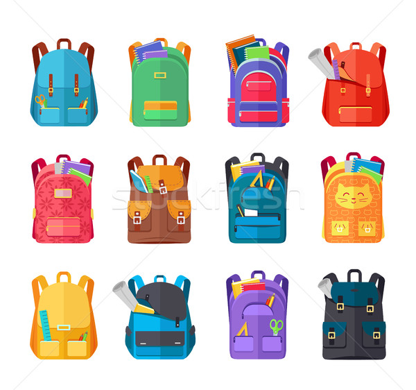 Colored School Backpacks Set Stock photo © robuart