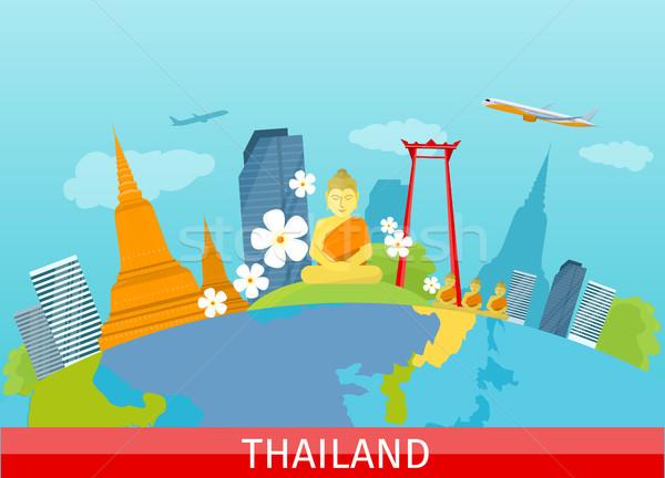 Thailand Travelling banner. Thai Landmarks. Stock photo © robuart