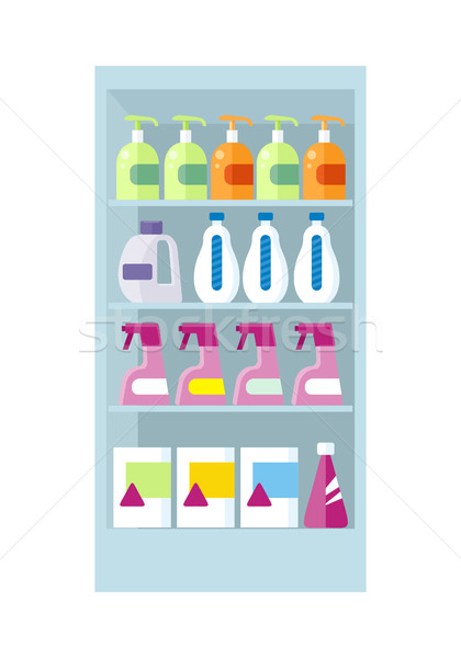 Shelves with Household Chemicals Illustration. Stock photo © robuart