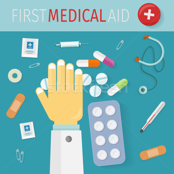 First Medical Aid Banner. Hospital Equipment Stock photo © robuart