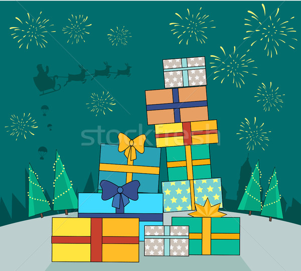Big Pile of Colorful Wrapped Gift Boxes Web Banner Stock photo © robuart