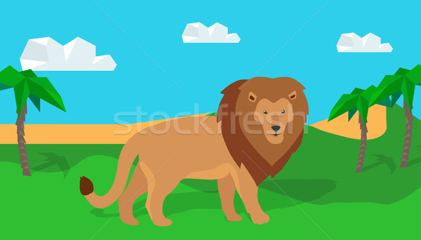 Funny Lion in Savanna Stock photo © robuart