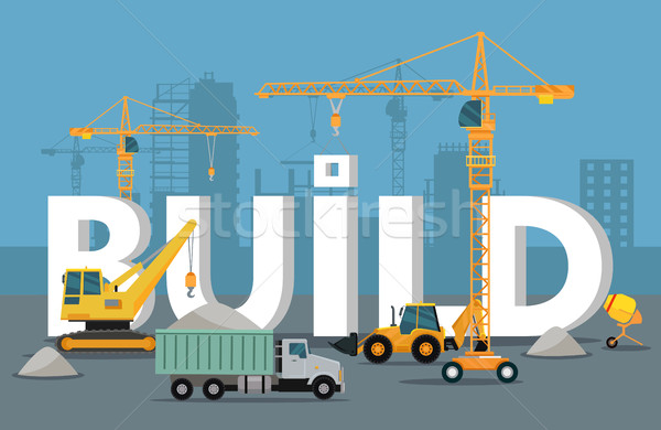 Build Banner Concept in Flat Style Modern Building Stock photo © robuart