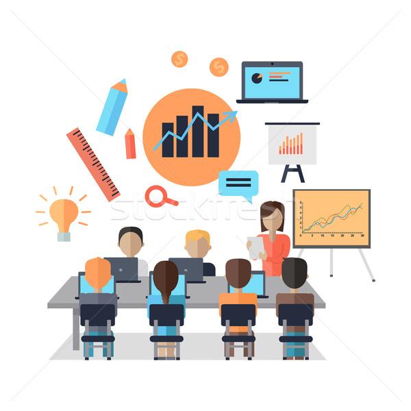 ビジネス コーチング 女性 プレゼンテーション ホワイトボード ストックフォト © robuart