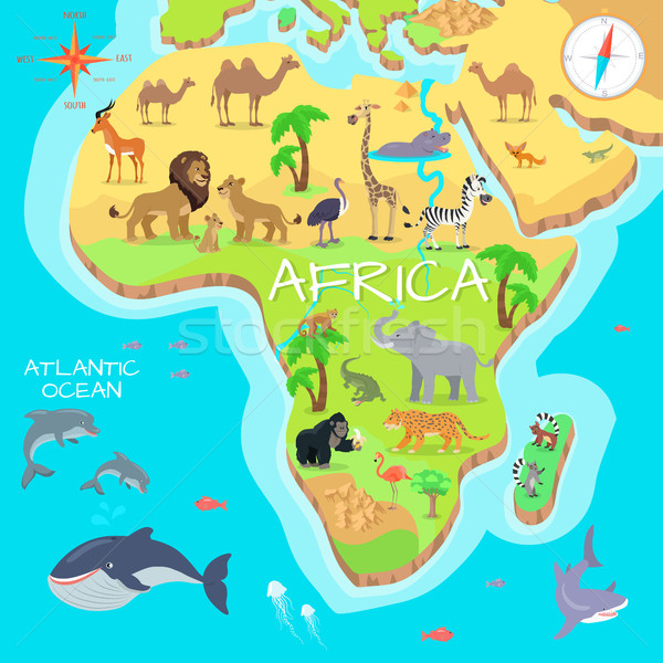 Africa Mainland Cartoon Map with Fauna Species  Stock photo © robuart
