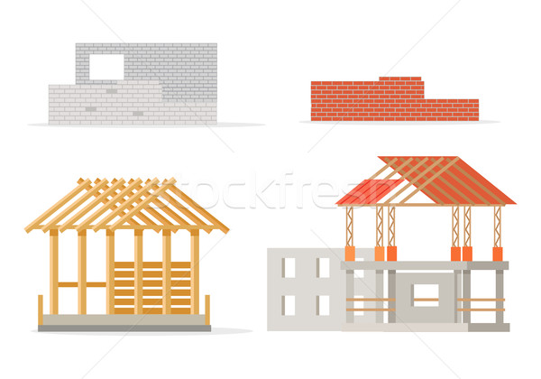 Industrial Process of Building New House. Stages Stock photo © robuart