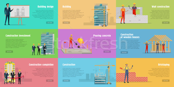 Collection of Banners. Stages of Building House. Stock photo © robuart